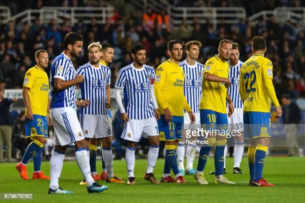 Willian Jose Inigo Martinez Carlos Vela Diego Llorente of Real Sociedad during the Spanish league football match between Real Sociedad and U D Las...