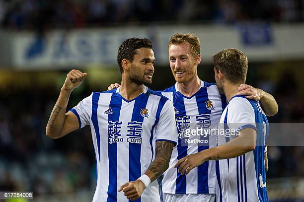 Willian Jose of Real Sociedad celebrates his goal after scoring against Zurutuza and Inigo Martinez of Real Sociedad during the Spanish league...