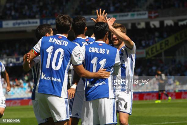 Willian Jose of Real Sociedad celebrates his goal after scoring during the Spanish league football match between Real Sociedad and Deportivo at the...