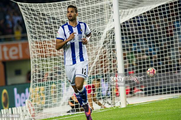 Willian Jose of Real Sociedad celebrates with teammates after scoring during the Spanish league football match between Real Sociedad and Betis at the...