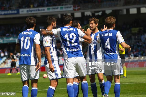 Willian Jose of Real Sociedad celebrates with teammates after scoring during the Spanish league football match between Real Sociedad and Deportivo at...