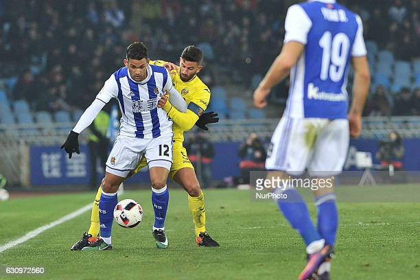 Willian Jose of Real Sociedad duels for the ball with Musacchio of Villarreal during the Spanish Kings Cup round of 8 finals first leg football match...