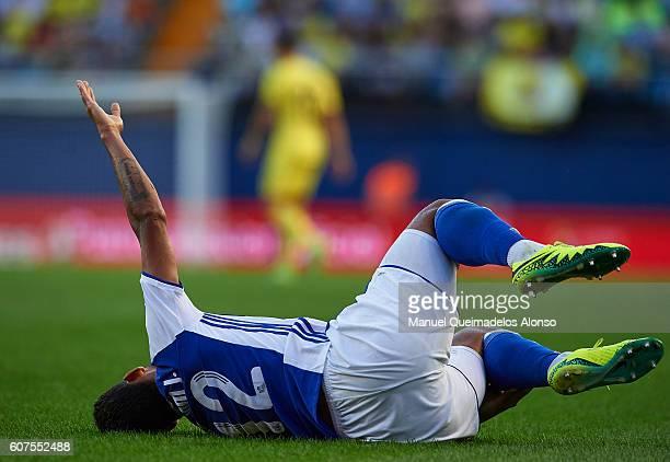 Willian Jose of Real Sociedad lies injured on the pitch during the La Liga match between Villarreal CF and Real Sociedad at El Madrigal on September...