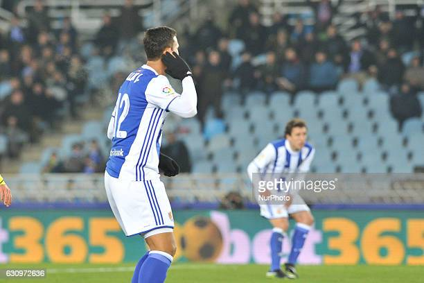 Willian Jose of Real Sociedad reacts after falls on the pitch during the Spanish Kings Cup round of 8 finals first leg football match between Real...