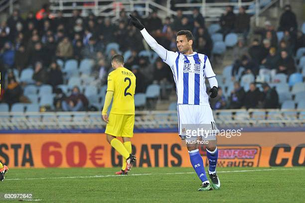 Willian Jose of Real Sociedad reacts during the Spanish Kings Cup round of 8 finals first leg football match between Real Sociedad and Villarreal at...