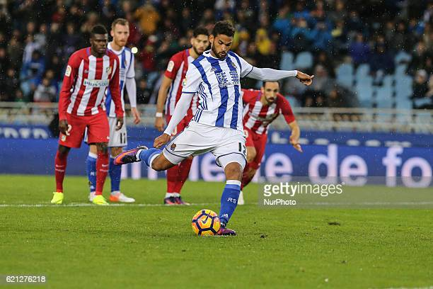 Willian Jose of Real Sociedad shoot a penalty during the Spanish league football match between Real Sociedad and Atletico Madrid at the Anoeta...