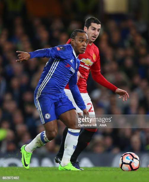 Willian of Chelsea and Henrikh Mkhitaryan of Manchester United during The Emirates FA Cup QuarterFinal match between Chelsea and Manchester United at...