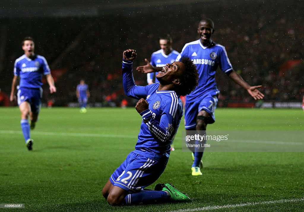 <a gi-track='captionPersonalityLinkClicked' href=/galleries/search?phrase=Willian+-+Soccer+Player+for+Chelsea+and+Brazil&family=editorial&specificpeople=9886576 ng-click='$event.stopPropagation()'>Willian</a> of Chelsea celebrates after scoring his team's second goal during the Barclays Premier League match between Southampton and Chelsea at St Mary's Stadium on January 1, 2014 in Southampton, England.