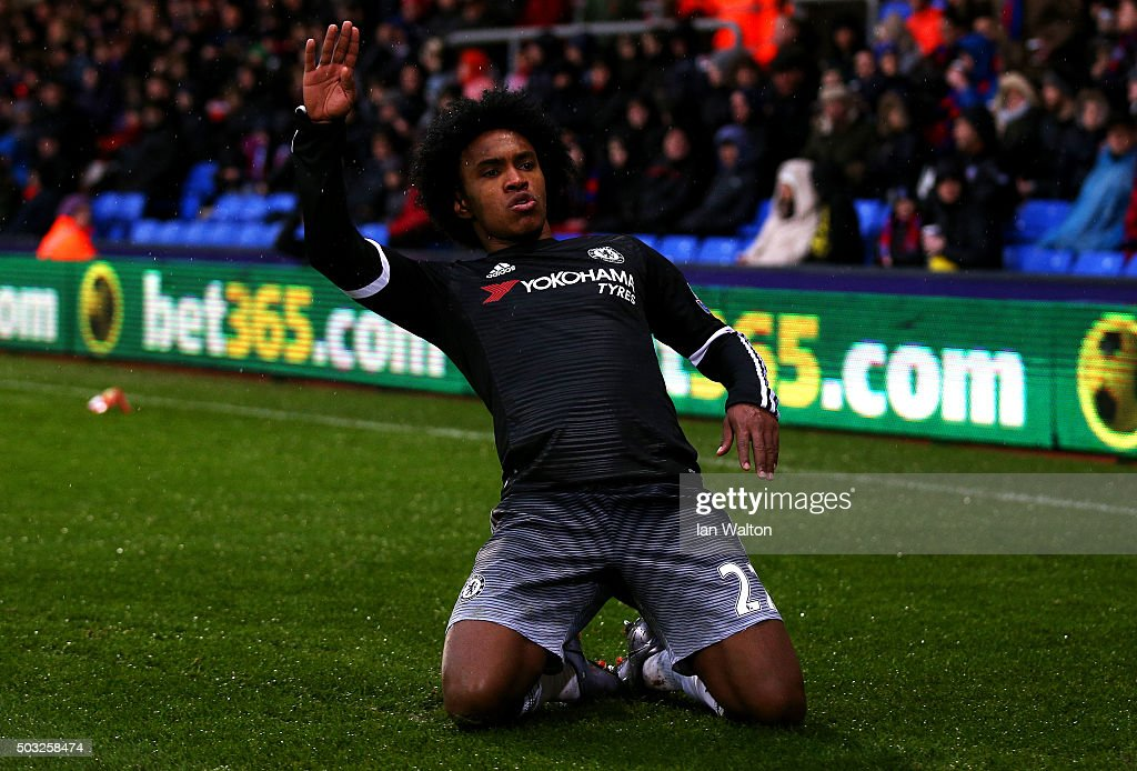 Willian of Chelsea celebrates after scoring his team's second goal during the Barclays Premier League match between Crystal Palace and Chelsea at...