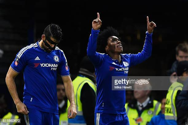 Willian of Chelsea celebrates after scoring his team's second goal during The Emirates FA Cup fifth round match between Chelsea and Manchester City...