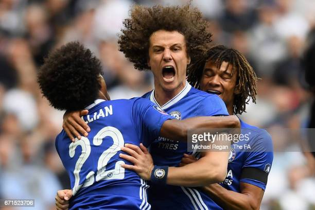 Willian of Chelsea celebrates scoring his sides first goal with David Luiz of Chelsea and Nathan Ake of Chelsea during The Emirates FA Cup SemiFinal...