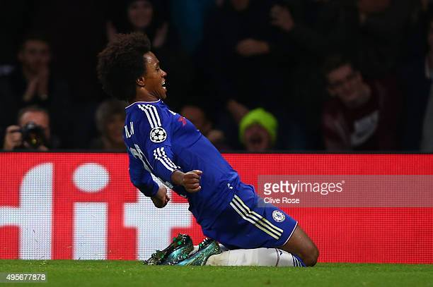 Willian of Chelsea celebrates scoring his side's second goal during the UEFA Champions League Group G match between Chelsea FC and FC Dynamo Kyiv at...