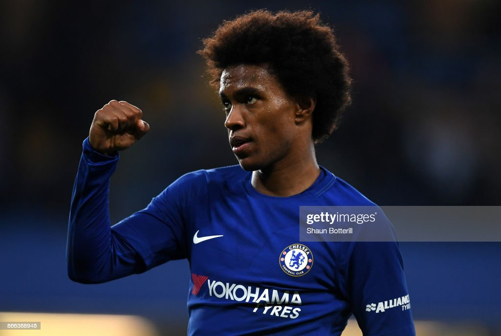 Willian of Chelsea celebrates scoring his sides second goal during the Carabao Cup Fourth Round match between Chelsea and Everton at Stamford Bridge on October 25, 2017 in London, England.