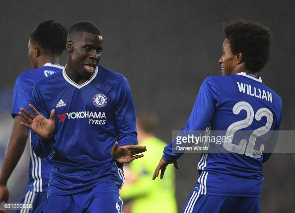 Willian of Chelsea celebrates scoring his sides third goal with Kurt Zouma of Chelsea during The Emirates FA Cup Third Round match between Chelsea...