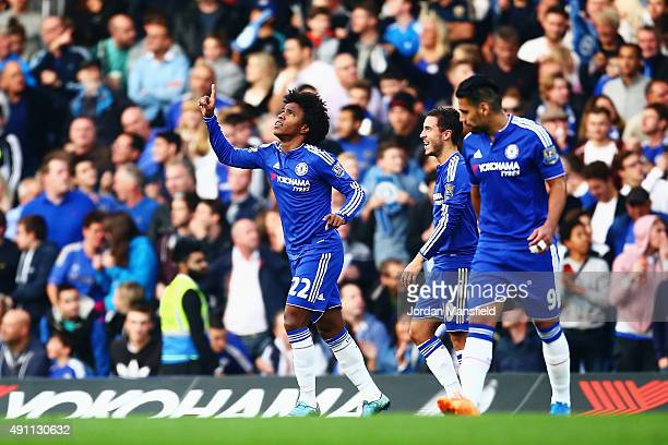Willian of Chelsea celebrates scoring his team's first goal during the Barclays Premier League match between Chelsea and Southampton at Stamford...