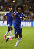 Willian of Chelsea celebrates scoring his teams second goal during the UEFA Champions League Group G match between Maccabi TelAviv FC and Chelsea FC...