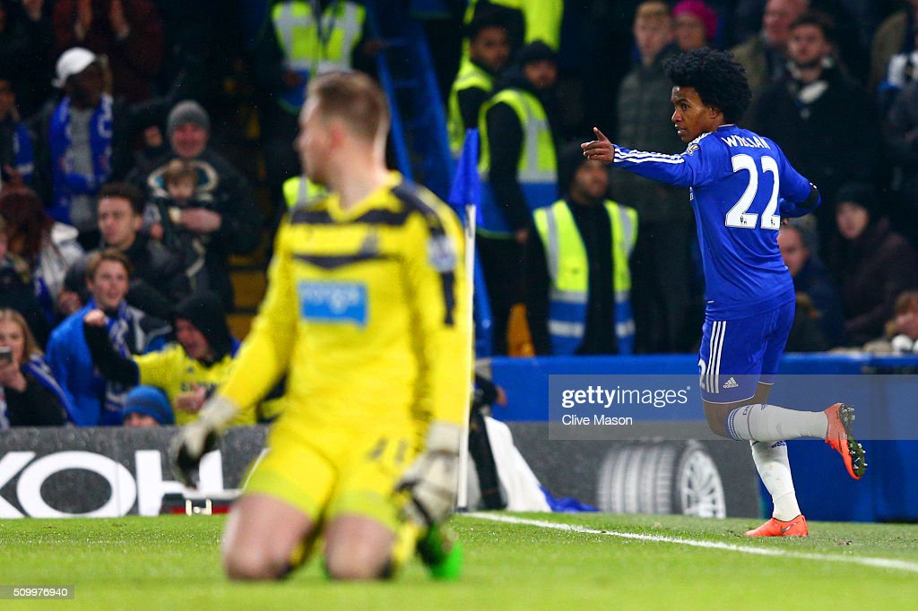 <a gi-track='captionPersonalityLinkClicked' href=/galleries/search?phrase=Willian+-+Soccer+Player+for+Chelsea+and+Brazil&family=editorial&specificpeople=9886576 ng-click='$event.stopPropagation()'>Willian</a> of Chelsea celebrates scoring his team's third goal during the Barclays Premier League match between Chelsea and Newcastle United at Stamford Bridge on February 13, 2016 in London, England.