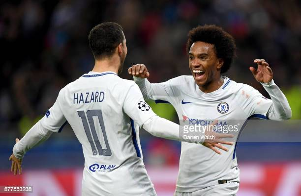 Willian of Chelsea celebrates with Eden Hazard of Chelsea after he scores his sides second goal during the UEFA Champions League group C match...