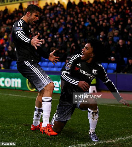 Willian of Chelsea celebrates with teammate Diego Costa of Chelsea after scoring his team's second goal during the Barclays Premier League match...