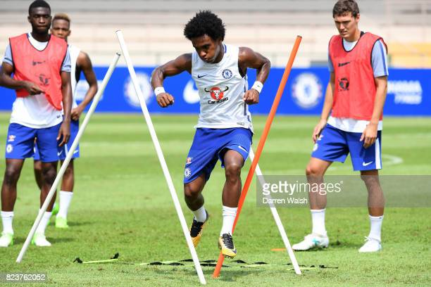 Willian of Chelsea during a training session at Singapore American School on July 28 2017 in Singapore