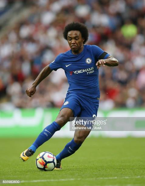 Willian of Chelsea during the Premier League match between Tottenham Hotspur and Chelsea at Wembley Stadium on August 20 2017 in London England