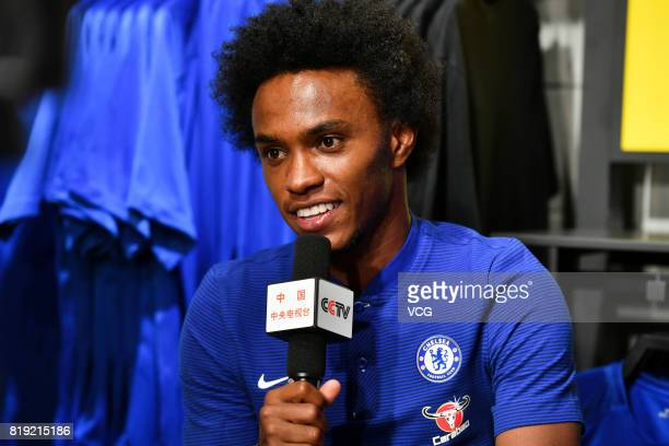 Willian of Chelsea FC attends an activity ahead of the PreSeason Friendly match between Chelsea and Arsenal on July 20 2017 in Beijing China