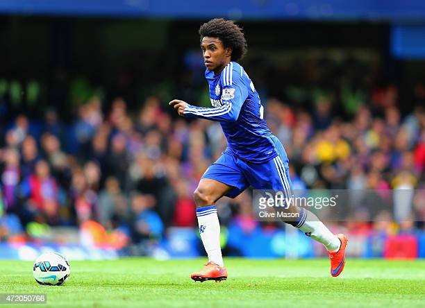 Willian of Chelsea in action during the Barclays Premier League match between Chelsea and Crystal Palace at Stamford Bridge on May 3 2015 in London...