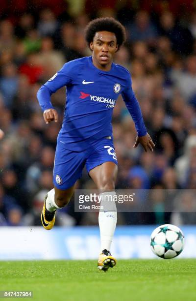 Willian of Chelsea in action during the UEFA Champions League Group C match between Chelsea FC and Qarabag FK at Stamford Bridge on September 12 2017...