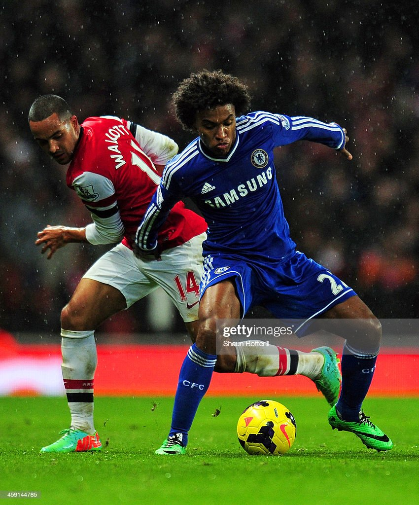 Willian of Chelsea is marshalled by Theo Walcott of Arsenal during the Barclays Premier League match between Arsenal and Chelsea at Emirates Stadium on December 23, 2013 in London, England.