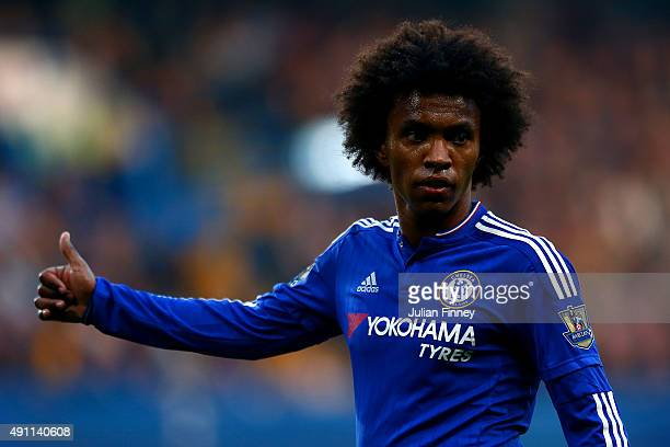 Willian of Chelsea reacts during the Barclays Premier League match between Chelsea and Southampton at Stamford Bridge on October 3 2015 in London...