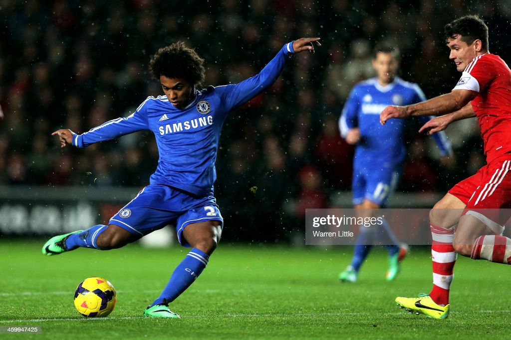 <a gi-track='captionPersonalityLinkClicked' href=/galleries/search?phrase=Willian+-+Soccer+Player+for+Chelsea+and+Brazil&family=editorial&specificpeople=9886576 ng-click='$event.stopPropagation()'>Willian</a> of Chelsea scores his team's second goal during the Barclays Premier League match between Southampton and Chelsea at St Mary's Stadium on January 1, 2014 in Southampton, England.