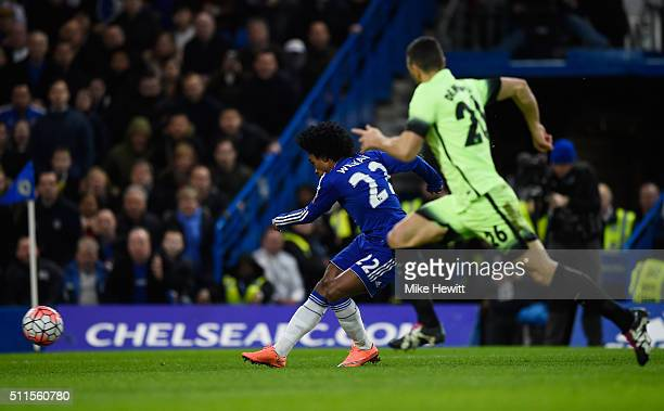 Willian of Chelsea scores his team's second goal during The Emirates FA Cup fifth round match between Chelsea and Manchester City at Stamford Bridge...