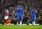 Willian of Chelsea shows his dejection after his team's 21 defeat in the Barclays Premier League match between West Ham United and Chelsea at Boleyn...