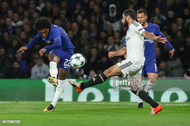 Willian of Chelsea und Rashad F Sadygov of Qarabag battle for the ball during the UEFA Champions League group C match between Chelsea FC and Qarabag...