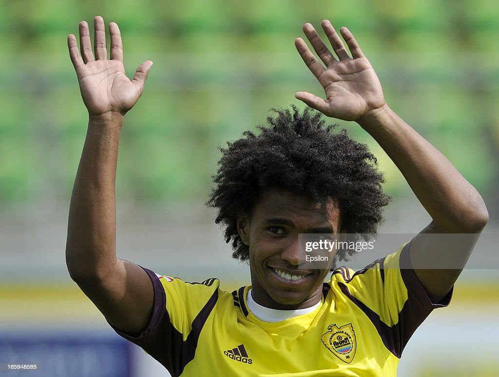 Willian of FC Anzhi Makhachkala acknowledges fans before the start of the Russian Premier League match between FC Anzhi Makhachkala and FC Alania...