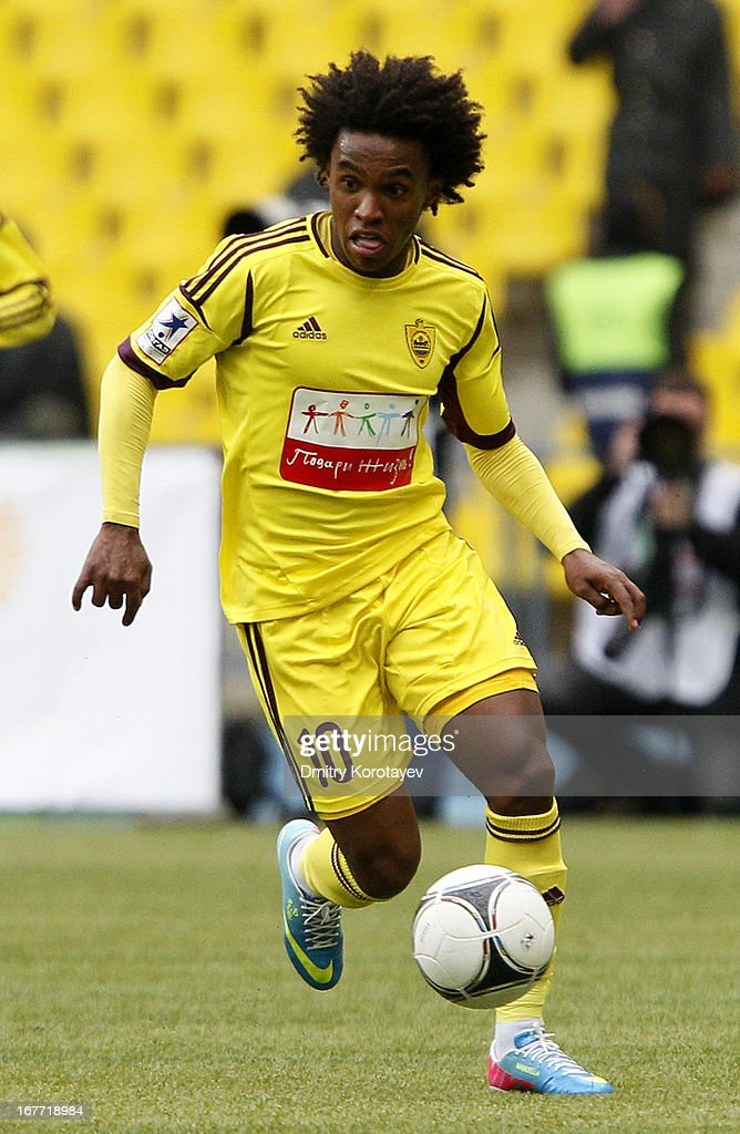 Willian of FC Anzhi Makhachkala in action during the Russian Premier League match between FC Spartak Moscow and FC Anzhi Makhachkala at the Luzhniki...