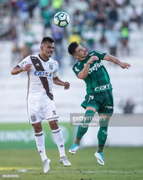 Willian of Palmeiras battles for the ball with Fernando Bob of Ponte Preta during the match between Ponte Preta and Palmeiras as a part of Campeonato...