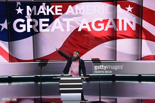 Willie Anderson of 'Duck Dynasty' addresses the Republican National Convention on July 18 2016 at Quicken Loans Arena in Cleveland Ohio The...