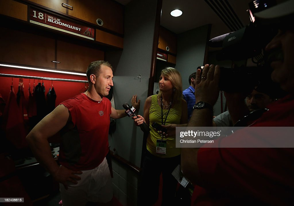<a gi-track='captionPersonalityLinkClicked' href=/galleries/search?phrase=Willie+Bloomquist&family=editorial&specificpeople=214000 ng-click='$event.stopPropagation()'>Willie Bloomquist</a> #18 of the Arizona Diamondbacks speaks with the media following the MLB game against the Washington Nationals at Chase Field on September 29, 2013 in Phoenix, Arizona. The Diamondbacks defeated the Nationals 3-2.