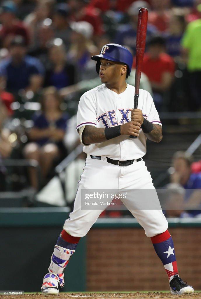 Willie Calhoun #55 of the Texas Rangers at Globe Life Park in Arlington on September 12, 2017 in Arlington, Texas.