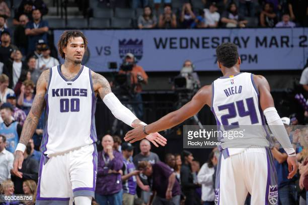 Willie CauleyStein and Buddy Hield of the Sacramento Kings are seen after the game against the Orlando Magic on March 13 2017 at Golden 1 Center in...