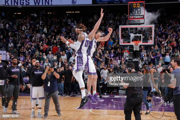 Willie CauleyStein and Kosta Koufos of the Sacramento Kings celebrate after a game against the Memphis Grizzlies on March 27 2017 at Golden 1 Center...