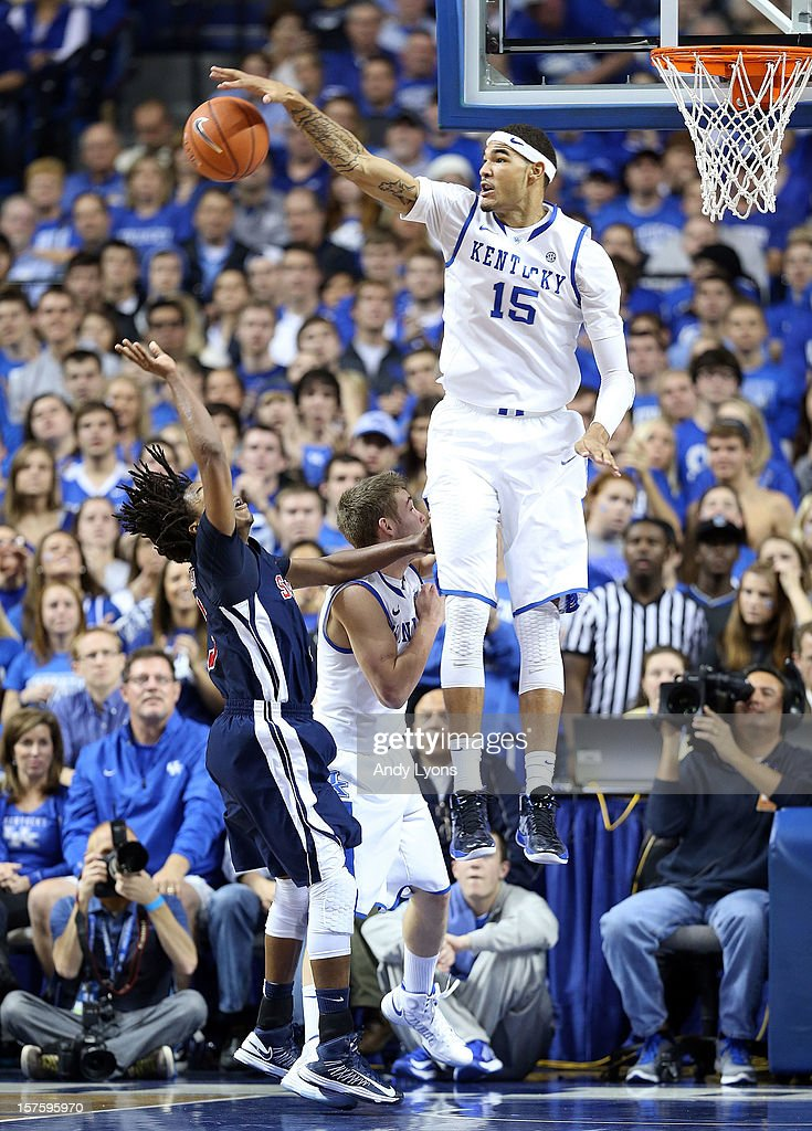 Willie Cauley-Stein #15 of the Kentucky Wildcats blocks a shot during the game against the Samford Bulldogs at Rupp Arena on December 4, 2012 in Lexington, Kentucky. Kentucky won 88-56.