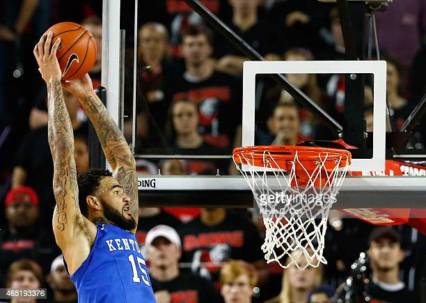 Willie CauleyStein of the Kentucky Wildcats dunks against the Georgia Bulldogs at Stegeman Coliseum on March 3 2015 in Athens Georgia