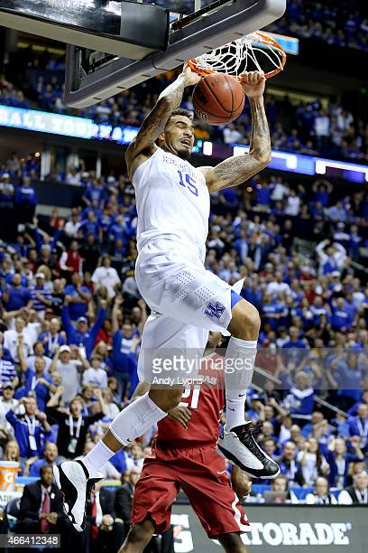 Willie CauleyStein of the Kentucky Wildcats dunks against the Arkansas Razorbacks in the first half during the championship game of the SEC...