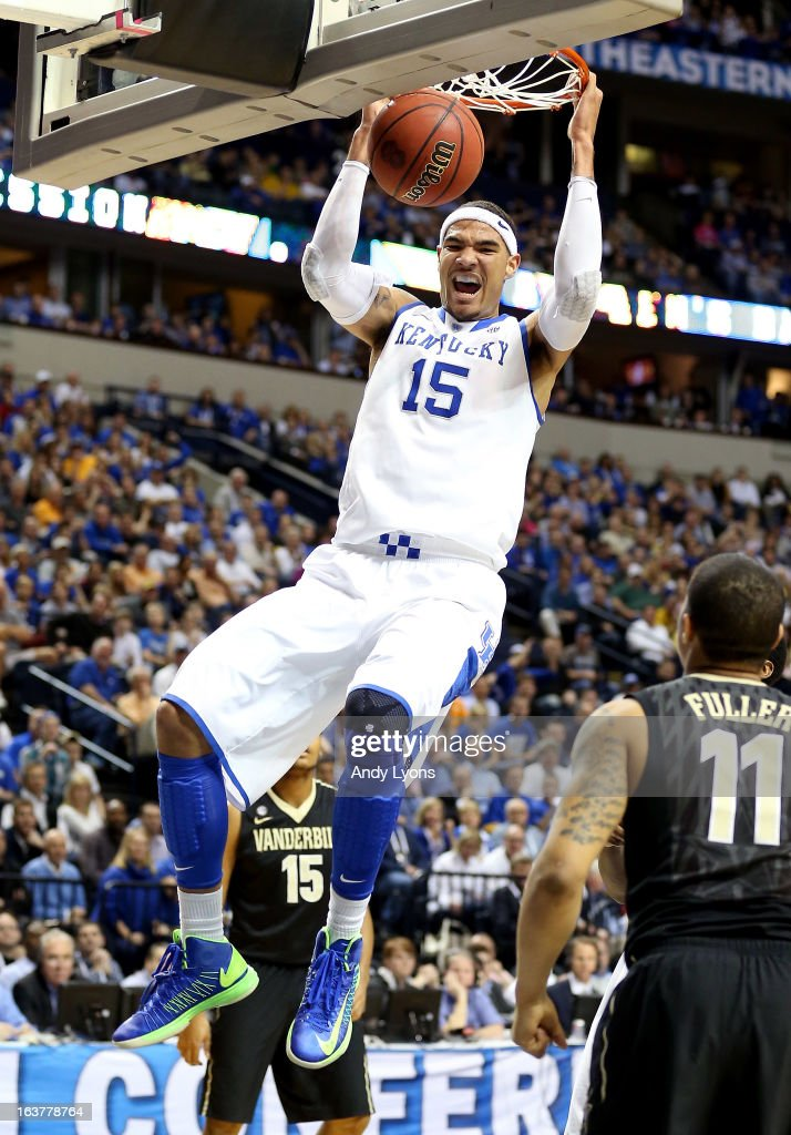 Willie Cauley-Stein #15 of the Kentucky Wildcats dunks the ball against the Vanderbilt Commodores in the first half during the Quarterfinals of the SEC basketball tournament at Bridgestone Arena on March 15, 2013 in Nashville, Tennessee.