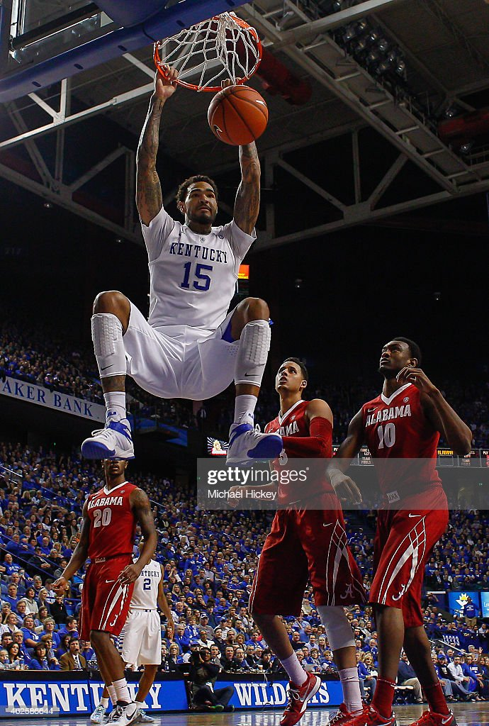<a gi-track='captionPersonalityLinkClicked' href=/galleries/search?phrase=Willie+Cauley-Stein&family=editorial&specificpeople=9854040 ng-click='$event.stopPropagation()'>Willie Cauley-Stein</a> #15 of the Kentucky Wildcats dunks the ball against the Alabama Crimson Tide at Rupp Arena on January 31, 2015 in Lexington, Kentucky. Kentucky defeated Alabama 70-55.