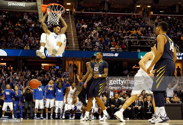 Willie CauleyStein of the Kentucky Wildcats goes up for a dunk in the second half against the West Virginia Mountaineers during the Midwest Regional...