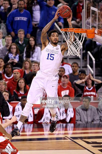 Willie CauleyStein of the Kentucky Wildcats goes up for a dunk in the first half against the Wisconsin Badgers during the NCAA Men's Final Four...