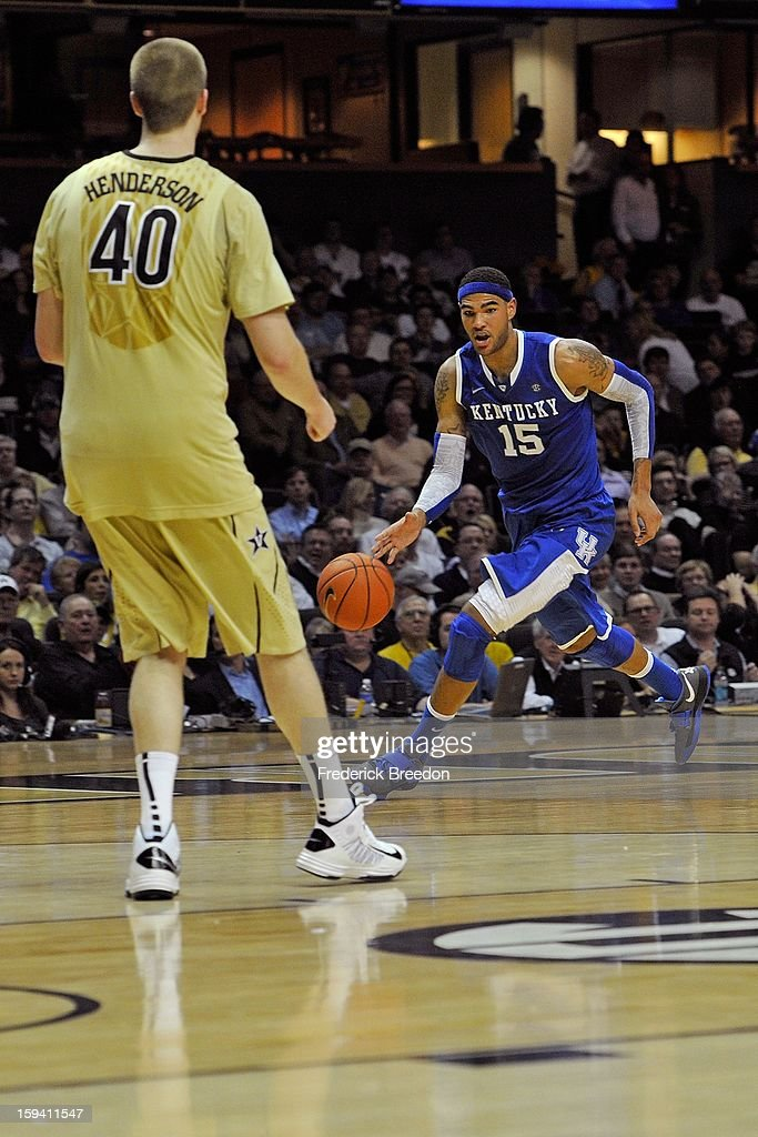 Willie Cauley-Stein #15 of the Kentucky Wildcats plays against the Vanderbilt Commodores at Memorial Gym on January 10, 2013 in Nashville, Tennessee.